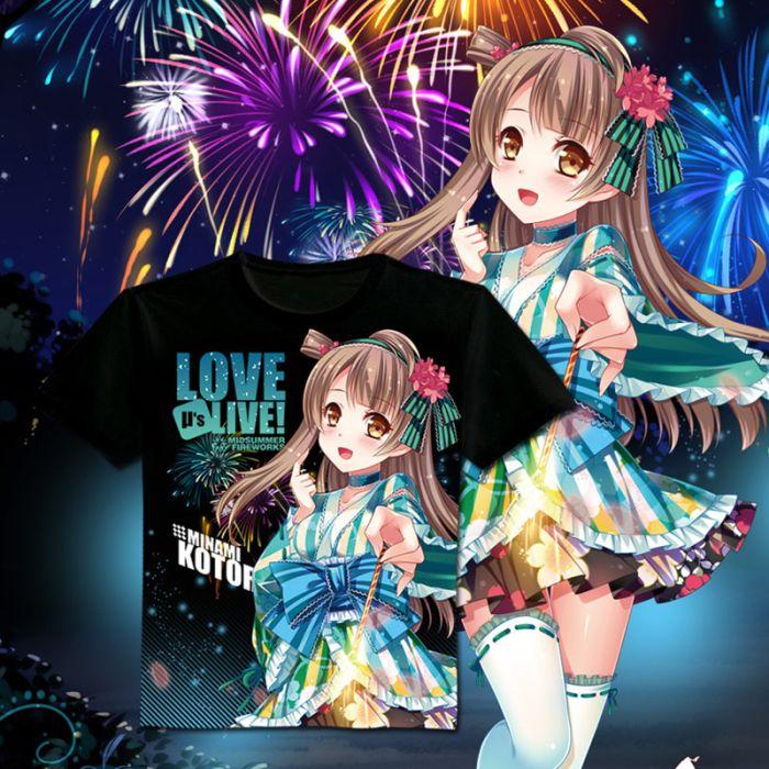 Love Live! Full Color T-Shirt Black Tee
